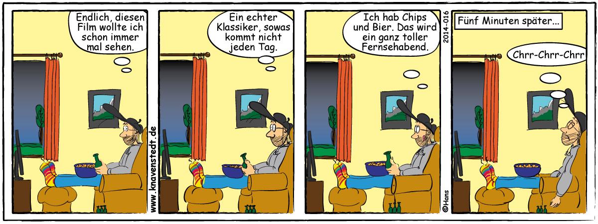 Comic, Landleben, Comicstrip, Bilder, Fernsehen, Neues aus Knavenstedt, Dorf, Knave, Schelm, Schlafen,