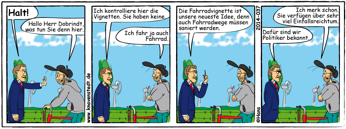 Politik, Maut, Comic, Landleben, Comicstrip, Bilder, Knavenstedt, Dorf, Knave, Schelm, Cartoon, Hans