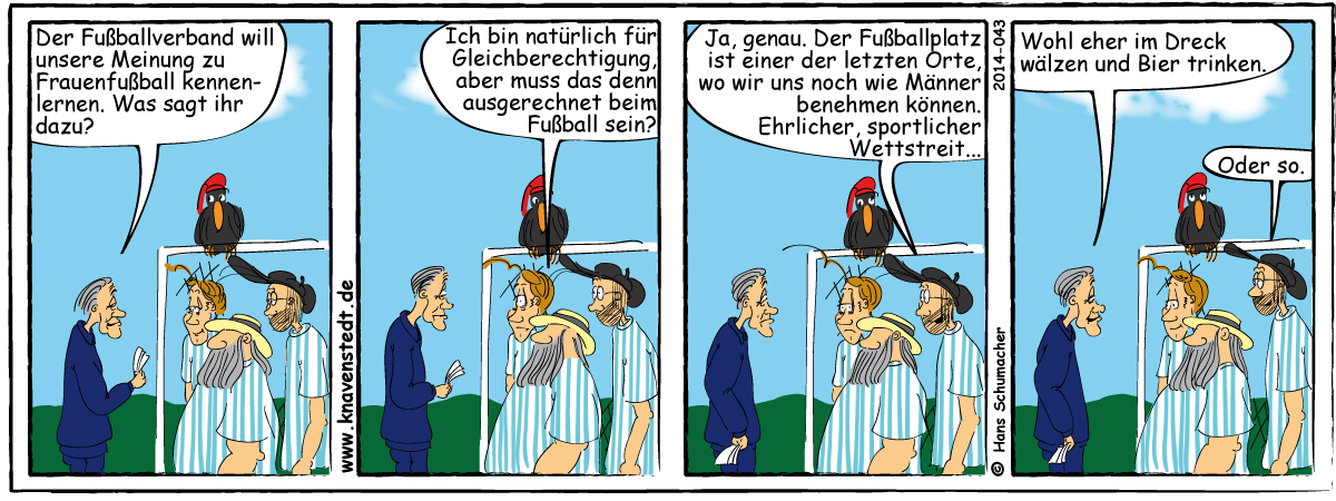Fußball, Sport, Comic, Landleben, Comicstrip, Bilder, Knavenstedt, Dorf, Knave, Schelm, Cartoon, Hans