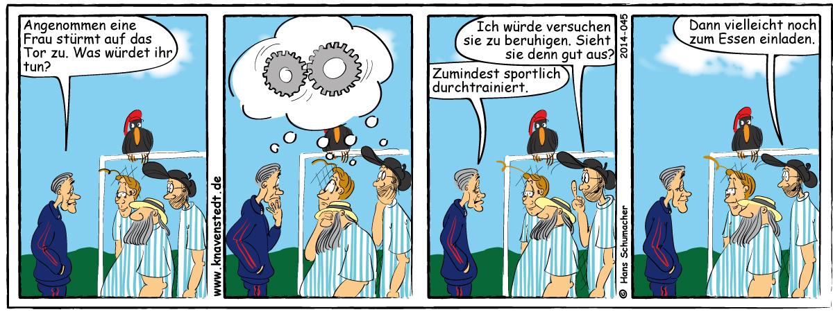 Sport, Comic, Landleben, Comicstrip, Bilder, Knavenstedt, Dorf, Knave, Schelm, Cartoon, Hans, Fußball, Frauenfußball