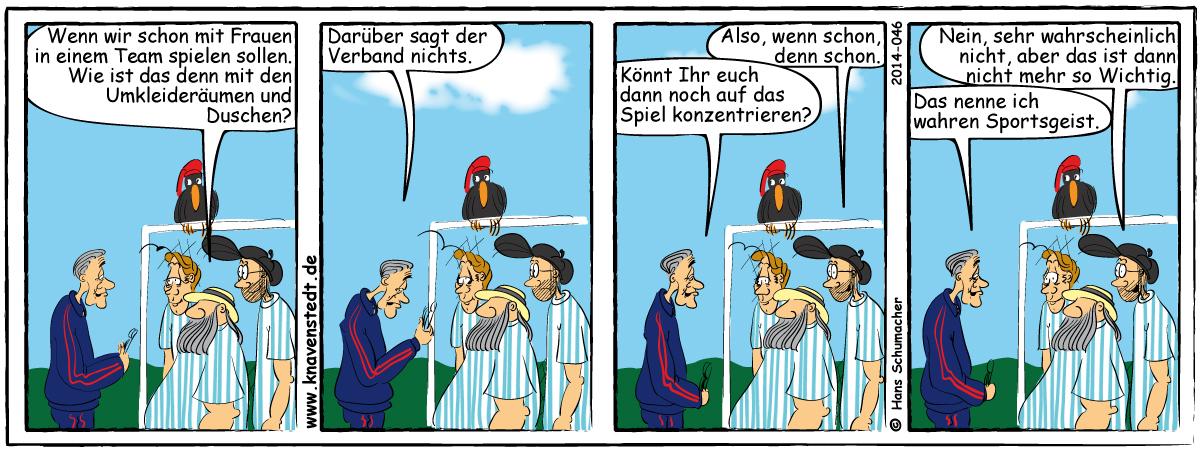 Sport, Comic, Landleben, Comicstrip, Bilder, Knavenstedt, Dorf, Knave, Schelm, Cartoon, Hans, Fußball