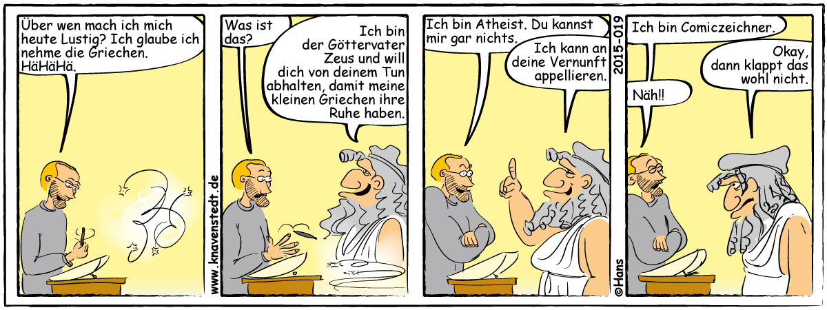 Politik, Griechenland, Comic, Landleben, Comicstrip, Bilder, Knavenstedt, Dorf, Knave, Schelm, Cartoon, Hans
