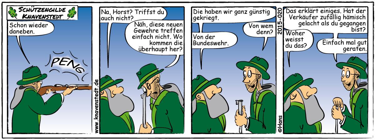Comic, Landleben, Comicstrip, Bilder, Knavenstedt, Dorf, Schelm, Cartoon, Hans, Politik, Bundeswehr, Ausrüstung, Schützenverein