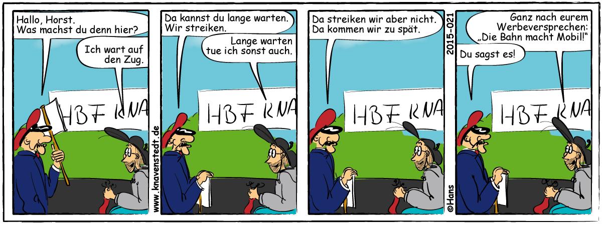 Politik, Bahnstreik, Comic, Landleben, Comicstrip, Bilder, Knavenstedt, Dorf, Knave, Schelm, Cartoon, Hans