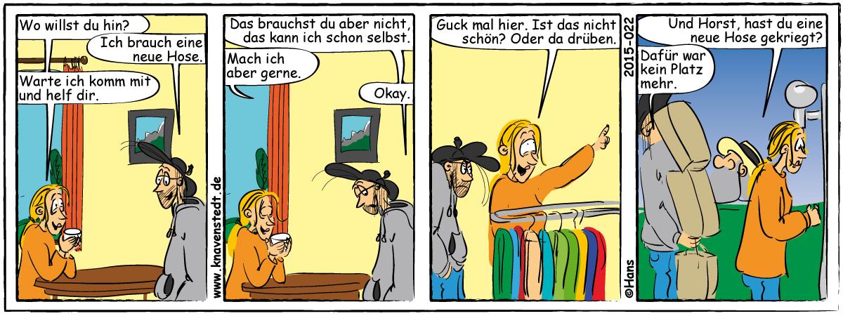 Mann, Frau, Einkaufen, Comic, Landleben ,Comicstrip, Bilder, Beziehung, Knavenstedt, Dorf, Knave, Schelm, Hans, Thedinghausen
