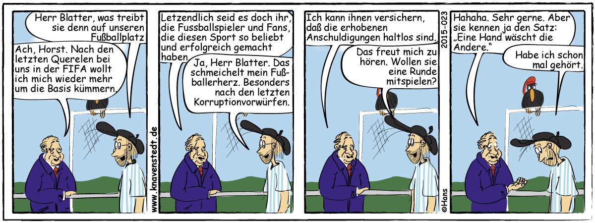 Fußball, Blatter, Sport, Comic, Landleben, Comicstrip, Bilder, Knavenstedt, Dorf, Knave, Schelm, Cartoon, Hans