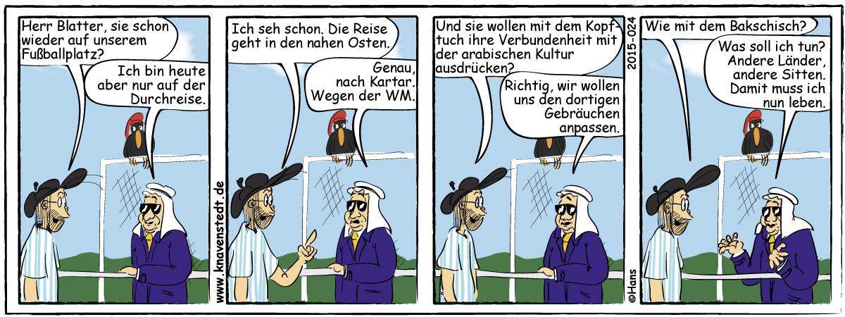 Fußball, Blatter, Katar, Sport, Comic, Landleben, Comicstrip, Bilder, Knavenstedt, Dorf, Knave, Schelm, Cartoon, Hans
